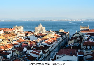 Aerial view of Lisbon, Portugal from Santa Justa Elevator