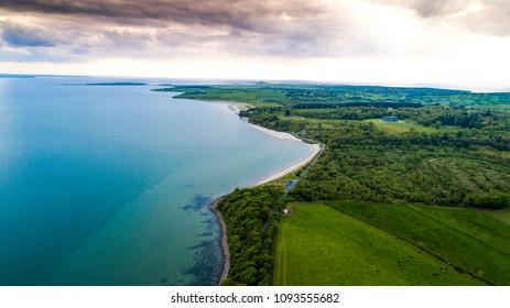Aerial view of Lissadel Beach, Co Sligo, Ireland.