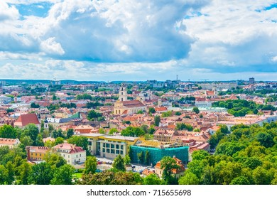 Aerial view of the lithuanian capital vilnius from the three crosses hill.