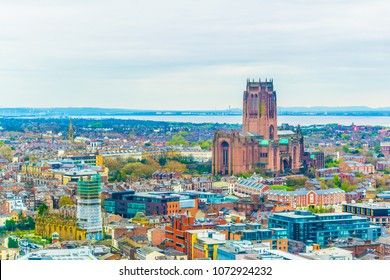 Aerial view of Liverpool including the cathedral, England