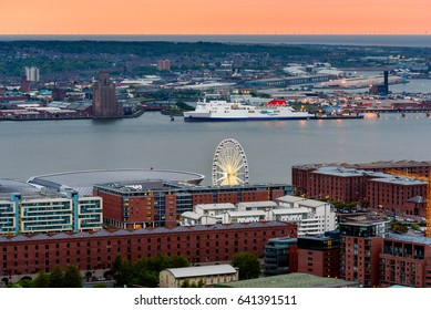 Aerial view of Liverpool skyline and albert dock.