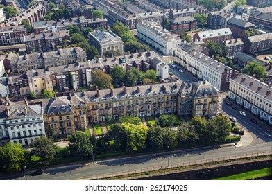 Aerial view of Liverpool, UK residential area
