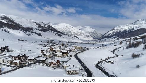 Aerial view of Livigno alps ski resort in winter, Italy