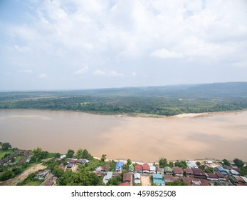 Aerial view of the living area by the Maekhong river which seperated the area of Thailand and Laos