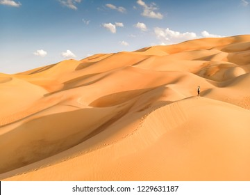 aerial view of Liwa desert in Abu Dhabi and person standing in the middle of dunes