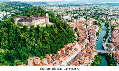 Aerial view of Ljubljana, capital of Slovenia