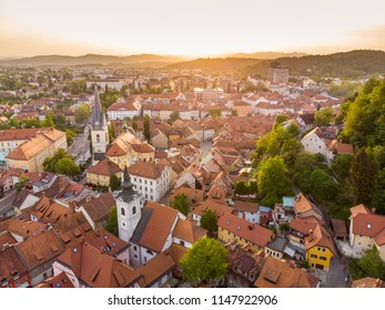 Aerial view of Ljubljana, capital of Slovenia. Roooftops of Ljubljanas old medieval city center seen from Ljubljanas castle at sunset.