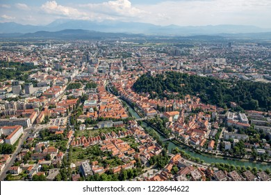 Aerial view of Ljubljana old town and Ljubljanica River, Capital city of Slovenia