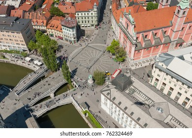 Aerial view of Ljubljana on the Triple Bridge (Tromostovje), Ljubljana, Slovenia