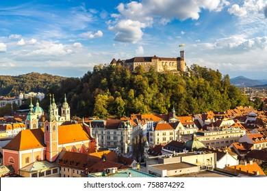 Aerial view of Ljubljana's castle at sunset in Slovenia