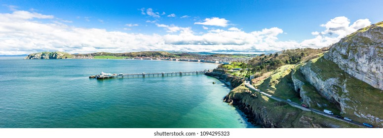 Aerial view of Llandudno with pier in Wales - United Kingdom.