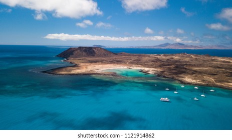 aerial view of lobos island, fuerteventura, canary islands