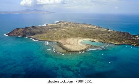 aerial view of lobos island, fuerteventura, canary islands