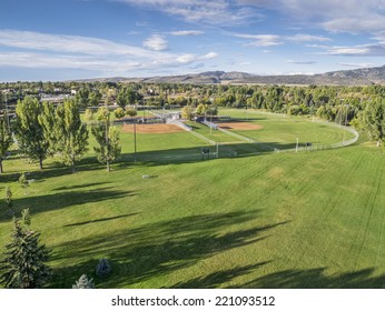 aerial view of a local park with baseball fields in Fort Collins, Colorado