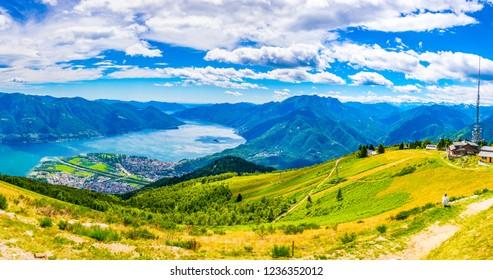 Aerial view of Locarno and Lago Maggiore in Switzerland
