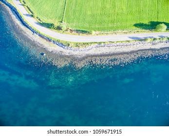Aerial view of Loch Creran by the Loch Creran bridge, Argyll, Scotland
