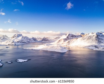 Aerial View of Lofoten Islands in Winter time. Norway.