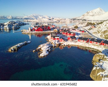 Aerial View of Lofoten Islands in Winter time. Norway. Fishing village from above.