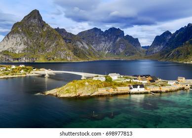 Aerial view from Olenilsøy in Lofoten, Norway