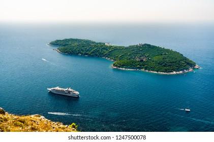 Aerial view of Lokrum Island in the Adriatic Sea near Dubrovnik in Croatia