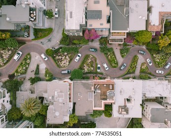 Aerial View of Lombard Street San Francisco California Most Crooked Street in the World