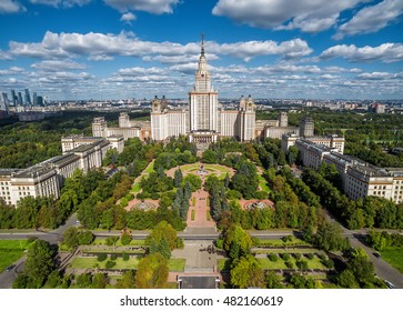 Aerial view of Lomonosov Moscow State University (MGU, MSU) on Sparrow Hills, Moscow, Russia. Panorama of Moscow with the Main building of University. Beautiful park area in summer Moscow from above.