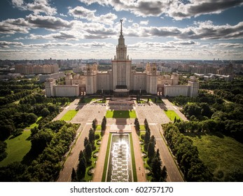 Aerial view of Lomonosov Moscow State University on Sparrow Hills, Moscow, Russia. Panorama of Moscow with the Main building of MSU. Moscow skyline in summer. Beautiful park area in Moscow from above.