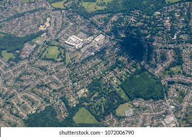 Aerial view of the London Borough of Bromley.  The Princess Royal University Hospital is prominent in the top left hand corner.