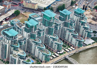 Aerial view of London buildings near  Vauxhall Station from a high vantage point.
