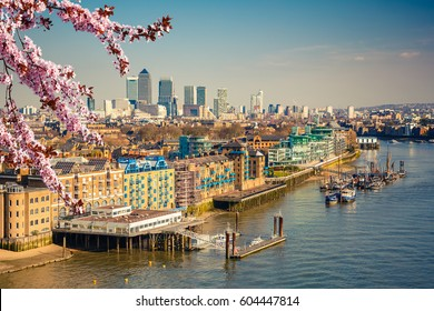 Aerial view of London City at spring