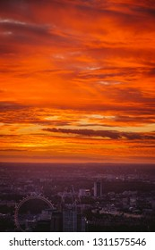 Aerial View of London City at Sunset