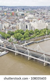 Aerial view of London with the Hungerford Bridge, the Cleopatra's Needle and the Victoria Embankment