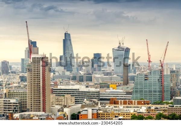 Aerial view of London modern skyline.