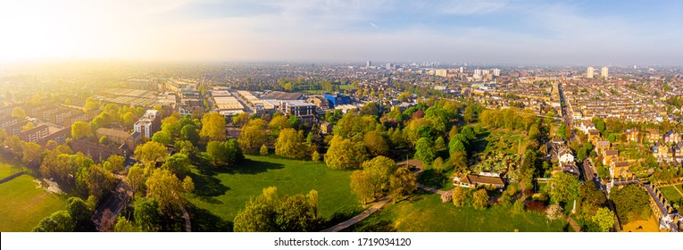 Aerial view of London suburb in the morning, UK