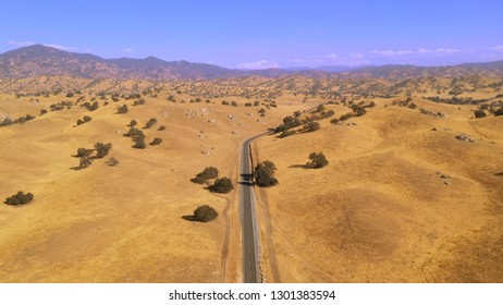 Aerial View Of Lonely Desert Road In The Sierra Nevada California