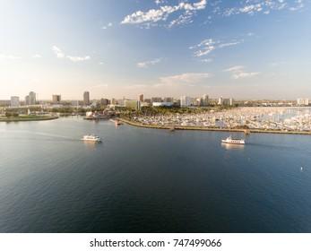 Aerial view of Long Beach in LA.