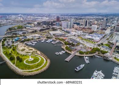 Aerial view Long Beach Pike, California