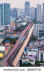 Aerial view long exposure city road bridge cross main river in Bangkok Thailand