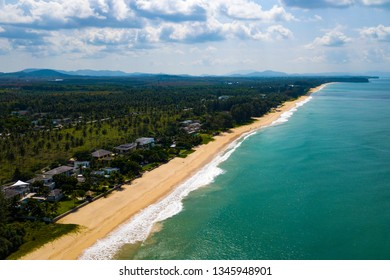 Aerial view of the long lonely beautiful Natai Beach in Ban Khok Kloi, Thailand, Asia.