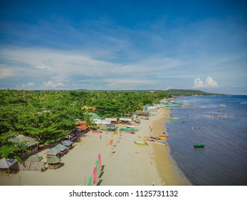 Aerial view of the long shore of Laiya, Batangas on a summer time