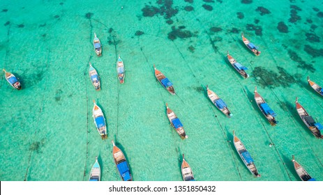 Aerial view long tail boat at Lipe island of Thailand