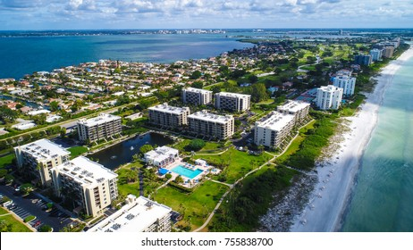 An aerial view of Longboat Key in Sarasota County, Florida.