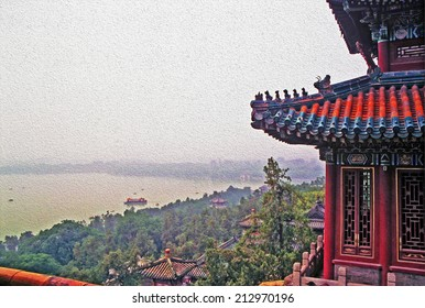 aerial view of at longevity hill and kunming lake in summer palace, Beijing, China, stylized and filtered to look like an oil painting