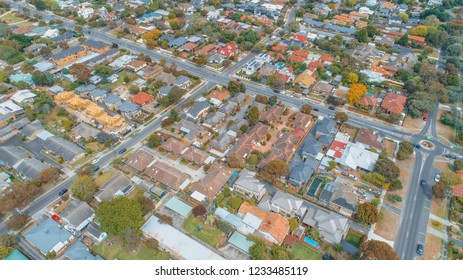 Aerial view - looking down at houses and strees in suburbia