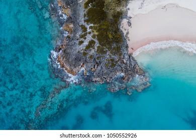 Aerial view looking down on Pink Beach in Bermuda