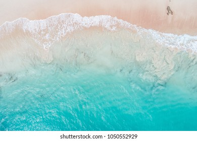 Aerial view looking down on Pink Beach in Bermuda