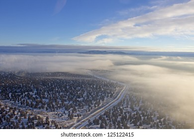 Aerial view looking east across central Oregon early on winter morning
