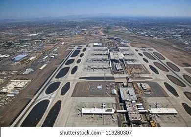 Aerial view looking east atop Sky Harbor Airport in Phoenix towards Tempe, Mesa and Scottsdale, Arizona