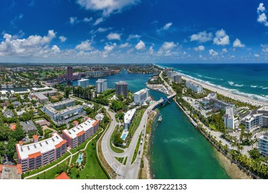 aerial view looking north, of boca raton, florida, with atlantic ocean to the east and intracoastal waterway in foreground.
