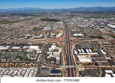 Aerial view looking north of the interchange where Interstate 17 meets the Loop 101 in Phoenix, Arizona